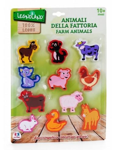 GLOBO ANIMALI FATTORIA IN LEGNO 11 PEZZI